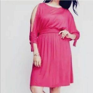 Lane Bryant blouson cold shoulder pink dress 14/16